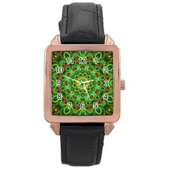 Peacock Feathers Mandala Rose Gold Leather Watch