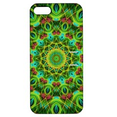 Peacock Feathers Mandala Apple Iphone 5 Hardshell Case With Stand
