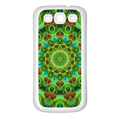 Peacock Feathers Mandala Samsung Galaxy S3 Back Case (White)