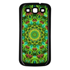 Peacock Feathers Mandala Samsung Galaxy S3 Back Case (Black)