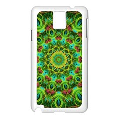 Peacock Feathers Mandala Samsung Galaxy Note 3 N9005 Case (White)