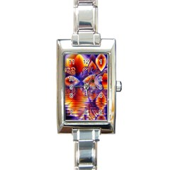 Winter Crystal Palace, Abstract Cosmic Dream Rectangular Italian Charm Watch