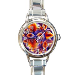 Winter Crystal Palace, Abstract Cosmic Dream Round Italian Charm Watch