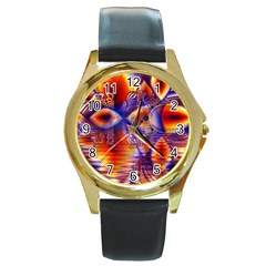Winter Crystal Palace, Abstract Cosmic Dream Round Gold Metal Watch