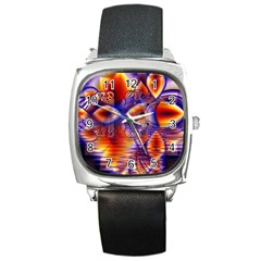 Winter Crystal Palace, Abstract Cosmic Dream Square Metal Watch
