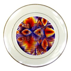 Winter Crystal Palace, Abstract Cosmic Dream Porcelain Plate