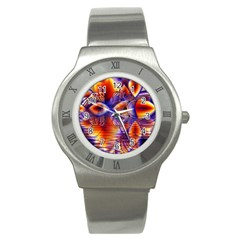 Winter Crystal Palace, Abstract Cosmic Dream Stainless Steel Watch
