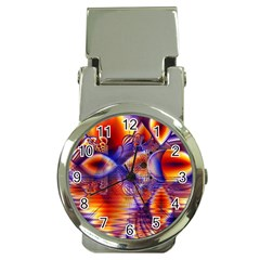 Winter Crystal Palace, Abstract Cosmic Dream Money Clip Watch