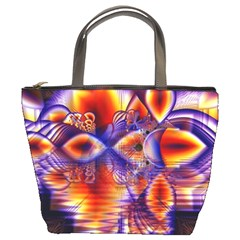 Winter Crystal Palace, Abstract Cosmic Dream Bucket Bag