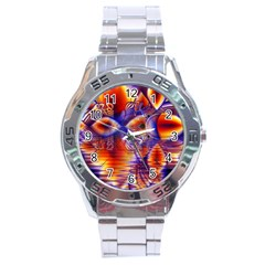 Winter Crystal Palace, Abstract Cosmic Dream Stainless Steel Analogue Men's Watch