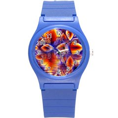 Winter Crystal Palace, Abstract Cosmic Dream Round Plastic Sport Watch Small