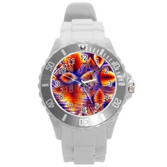 Winter Crystal Palace, Abstract Cosmic Dream Round Plastic Sport Watch Large