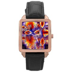 Winter Crystal Palace, Abstract Cosmic Dream Rose Gold Leather Watch