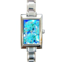 Blue Ice Crystals, Abstract Aqua Azure Cyan Rectangular Italian Charm Watch
