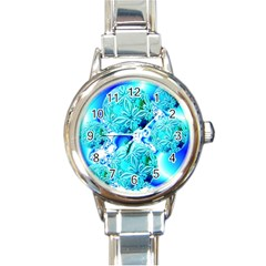 Blue Ice Crystals, Abstract Aqua Azure Cyan Round Italian Charm Watch