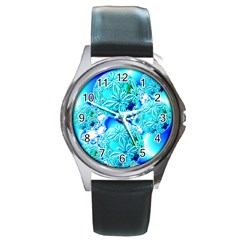 Blue Ice Crystals, Abstract Aqua Azure Cyan Round Metal Watch