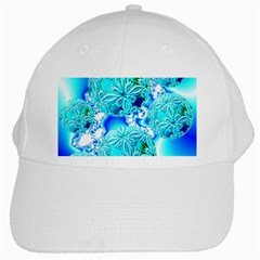 Blue Ice Crystals, Abstract Aqua Azure Cyan White Cap