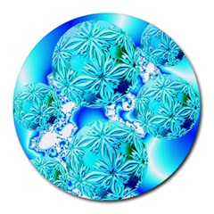 Blue Ice Crystals, Abstract Aqua Azure Cyan Round Mousepad