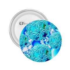 Blue Ice Crystals, Abstract Aqua Azure Cyan 2.25  Button