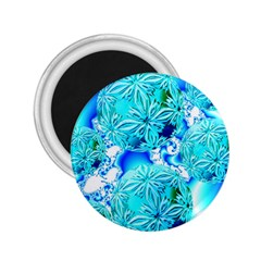 Blue Ice Crystals, Abstract Aqua Azure Cyan 2.25  Magnet