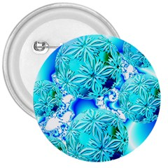 Blue Ice Crystals, Abstract Aqua Azure Cyan 3  Button