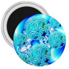 Blue Ice Crystals, Abstract Aqua Azure Cyan 3  Magnet