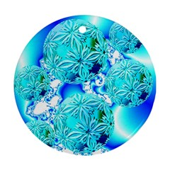 Blue Ice Crystals, Abstract Aqua Azure Cyan Ornament (Round)