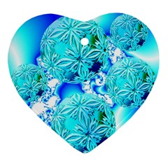 Blue Ice Crystals, Abstract Aqua Azure Cyan Ornament (Heart)