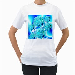 Blue Ice Crystals, Abstract Aqua Azure Cyan Women s T Shirt (white) (two Sided)