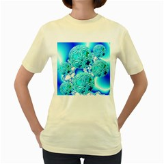 Blue Ice Crystals, Abstract Aqua Azure Cyan Women s Yellow T-Shirt
