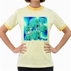 Blue Ice Crystals, Abstract Aqua Azure Cyan Women s Fitted Ringer T-Shirt