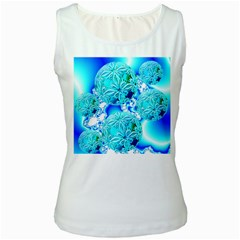 Blue Ice Crystals, Abstract Aqua Azure Cyan Women s Tank Top