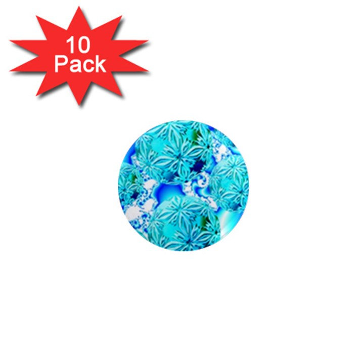 Blue Ice Crystals, Abstract Aqua Azure Cyan 1  Mini Magnet (10 pack)
