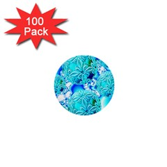 Blue Ice Crystals, Abstract Aqua Azure Cyan 1  Mini Button (100 pack)