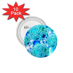 Blue Ice Crystals, Abstract Aqua Azure Cyan 1.75  Button (10 pack)