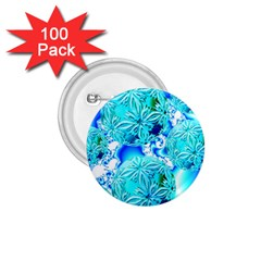 Blue Ice Crystals, Abstract Aqua Azure Cyan 1.75  Button (100 pack)