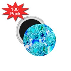 Blue Ice Crystals, Abstract Aqua Azure Cyan 1.75  Magnet (100 pack)