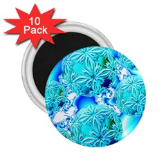 Blue Ice Crystals, Abstract Aqua Azure Cyan 2.25  Magnet (10 pack)