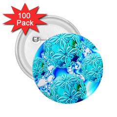 Blue Ice Crystals, Abstract Aqua Azure Cyan 2.25  Button (100 pack)