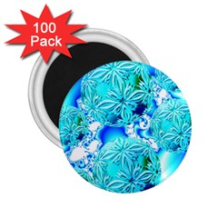 Blue Ice Crystals, Abstract Aqua Azure Cyan 2 25  Magnet (100 Pack)