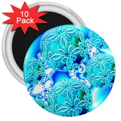Blue Ice Crystals, Abstract Aqua Azure Cyan 3  Magnet (10 pack)
