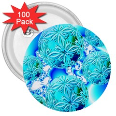 Blue Ice Crystals, Abstract Aqua Azure Cyan 3  Button (100 pack)