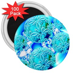 Blue Ice Crystals, Abstract Aqua Azure Cyan 3  Magnet (100 pack)