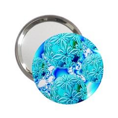 Blue Ice Crystals, Abstract Aqua Azure Cyan 2.25  Handbag Mirror