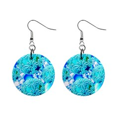 Blue Ice Crystals, Abstract Aqua Azure Cyan 1  Button Earrings