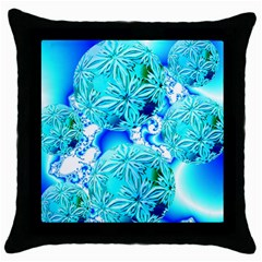 Blue Ice Crystals, Abstract Aqua Azure Cyan Throw Pillow Case (black)