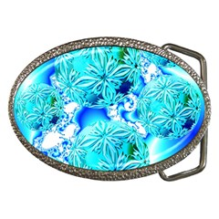 Blue Ice Crystals, Abstract Aqua Azure Cyan Belt Buckle