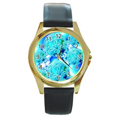 Blue Ice Crystals, Abstract Aqua Azure Cyan Round Gold Metal Watch