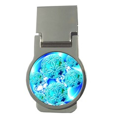 Blue Ice Crystals, Abstract Aqua Azure Cyan Money Clip (Round)