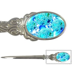 Blue Ice Crystals, Abstract Aqua Azure Cyan Letter Opener